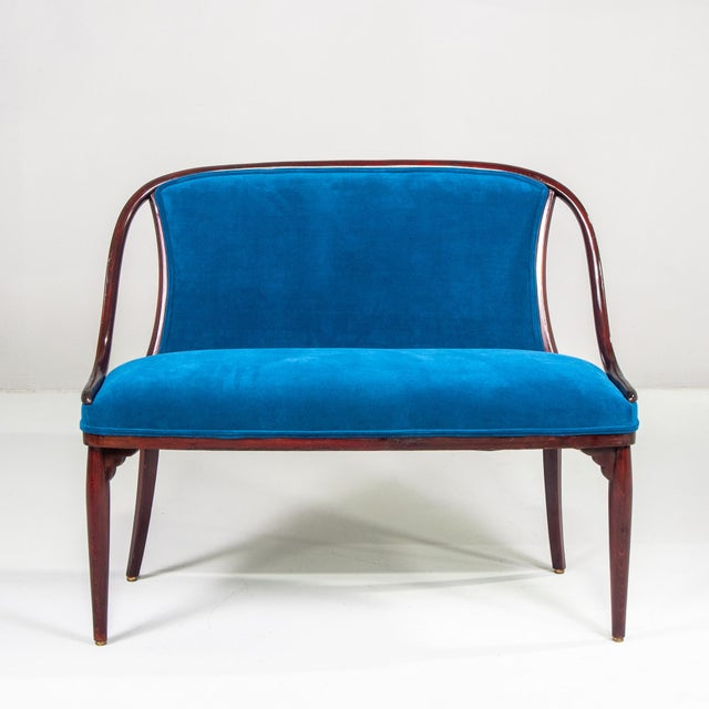 1920s Thonet Bentwood Settee With New Teal Blue Velvet Upholstery For Sale - Image 5 of 10