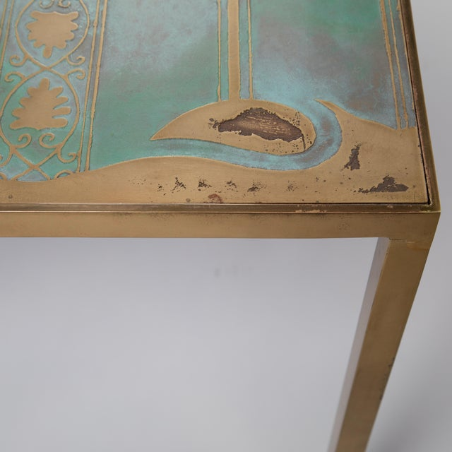 Brass Rare Harvey Probber Acid-Etched and Patinated Bronze Sofa Table, Circa 1960s For Sale - Image 7 of 13