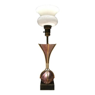 Mid-Century Modern Sculptural Tulip Torchiere Lamp W/ Milk Glass Diffuser Manner of Gerald Thurston For Sale