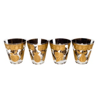 Culver Glass Florentine Fruit Pattern Lowball Glasses - Set of 4 For Sale