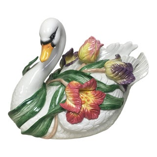 1990s Fitz & Floyd Tulip Swan Tureen with Lid For Sale