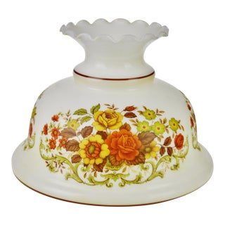 """Vintage 14"""" Decorative Floral Glass lampshade For Sale"""
