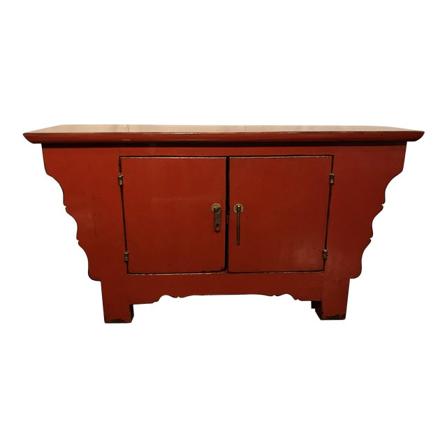 20th Century Chinese Cinnabar Colored Lacquered Sideboard Buffet For Sale