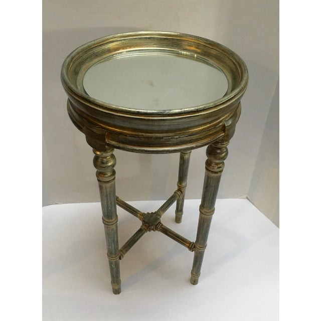 Asian Faux Bamboo Painted Side Table With Mirror Top For Sale - Image 3 of 10