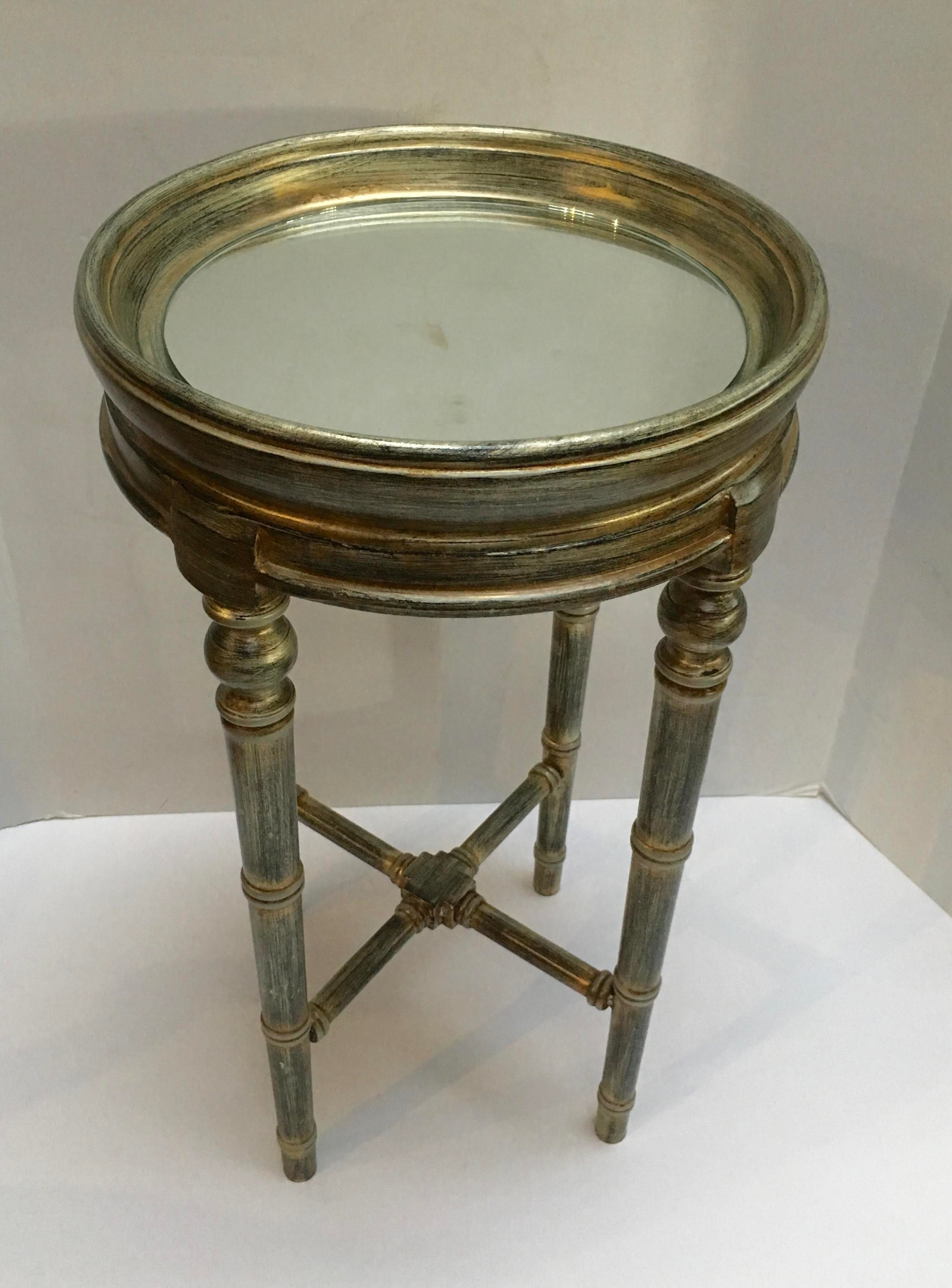 Faux Bamboo Painted Side Table With Mirror Top   Image 3 Of 10