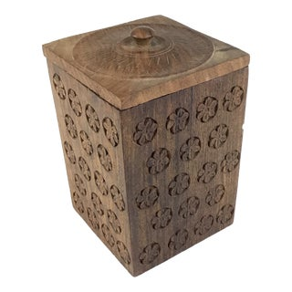1920s Solid Heavy Wood Carved Covered Box For Sale