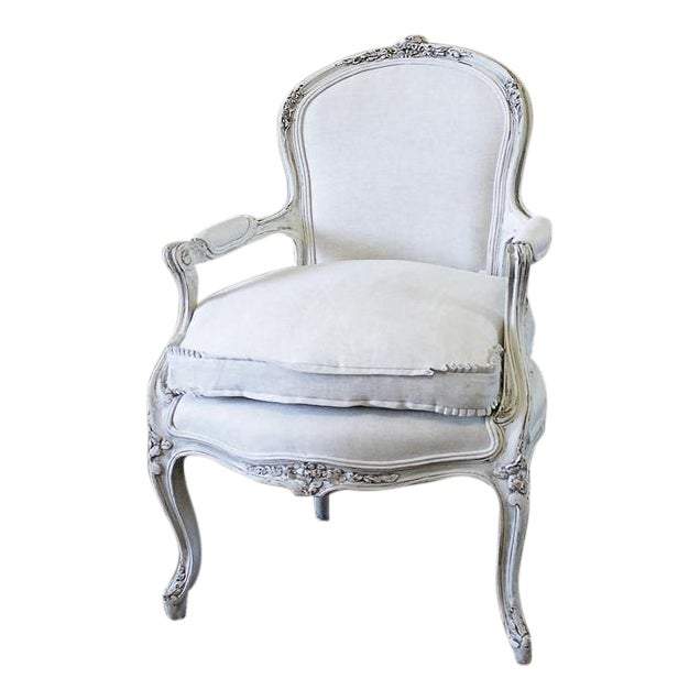 Antique French Country Style Upholstered Linen Open Armchair - Image 1 of 6