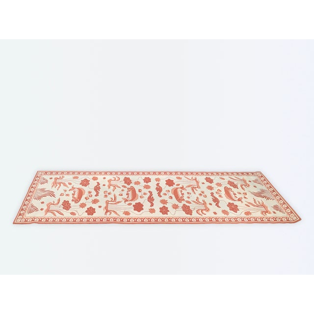 Cream Custom Edward Fields Long Coral and Cream Runner- 5′6″ × 19′ For Sale - Image 8 of 9