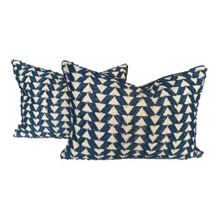 Navy and White Woven Pillows - a Pair For Sale