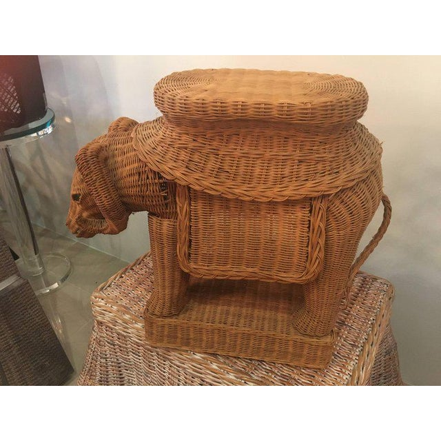 Boho Chic Vintage Wicker Ram Garden Stool Plant Stand For Sale - Image 3 of 10