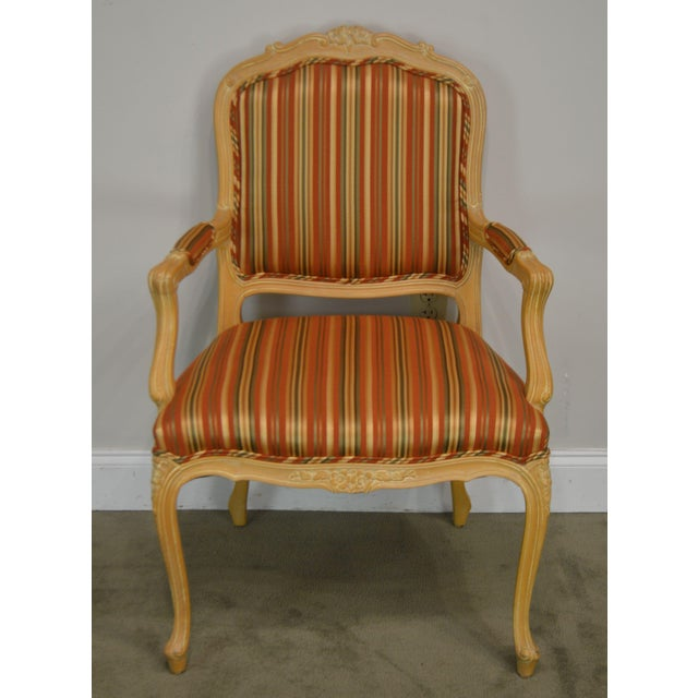 French Ethan Allen Home Collection Louis XV Style Armchair Made in Italy For Sale - Image 3 of 13