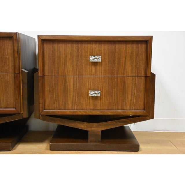 Mid-Century Brutalist Walnut Nightstands - A Pair - Image 11 of 11
