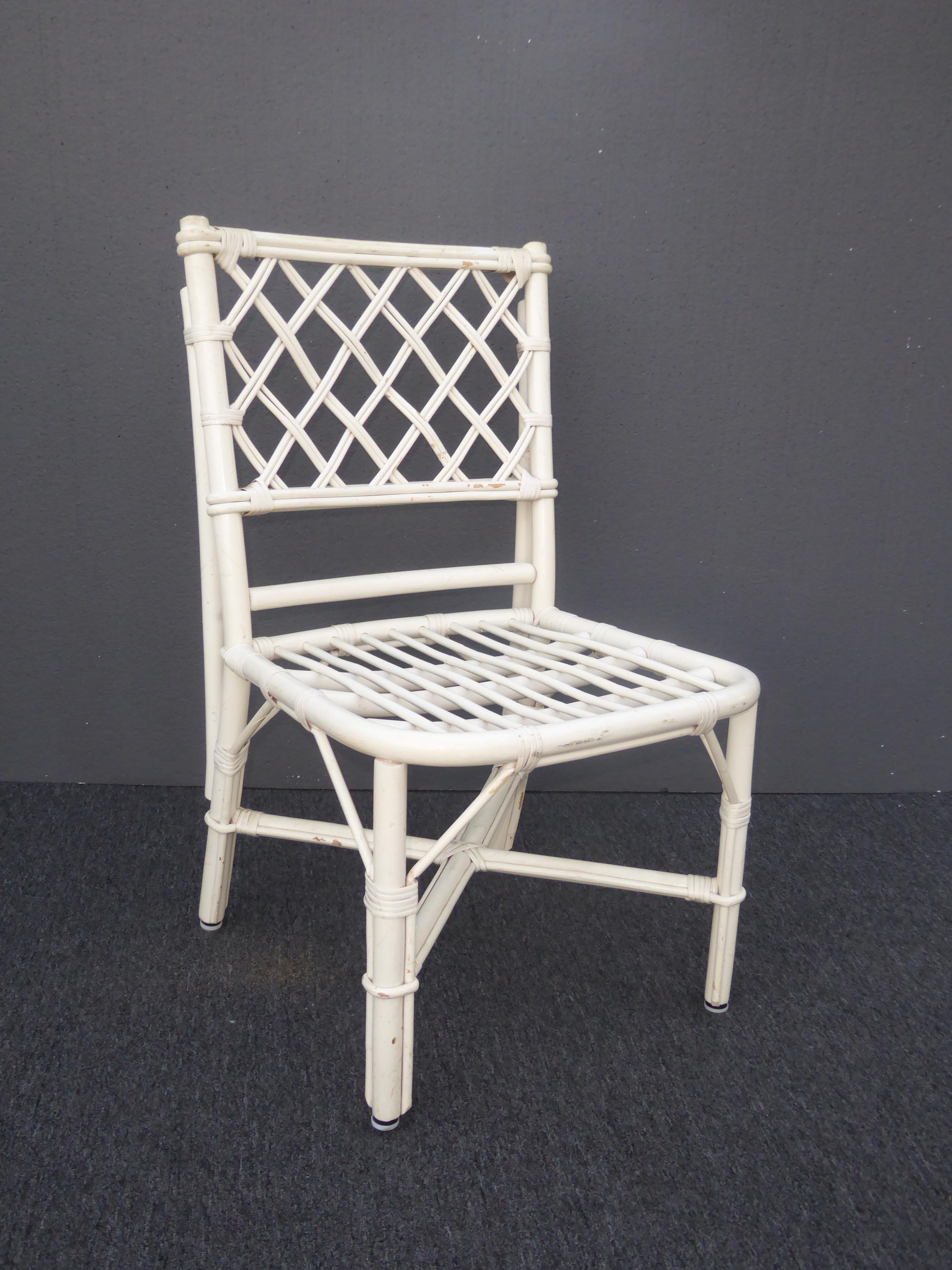 Vintage White Rattan Dining Chairs   Set Of 4   Image 5 Of 12