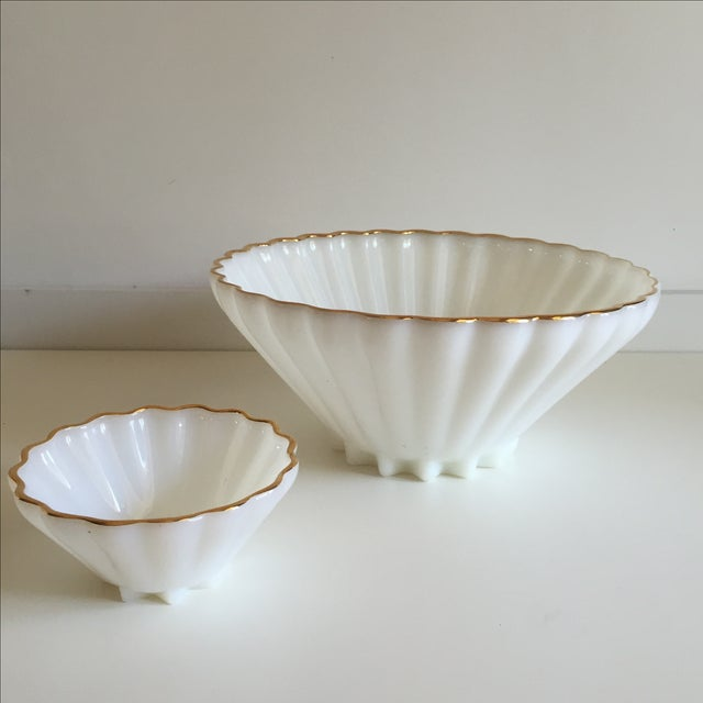 Classic Milk Glass Anchor Hocking Bowl Set - Pair - Image 4 of 10