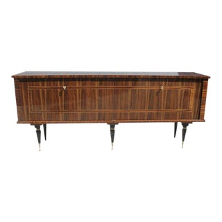 Long French Art Deco Macassar Exotic Sideboard / Credenza / Buffet Circa 1940s