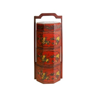 Chinese Red Lacquer Color Floral Graphic Painting Octagon Stack Box For Sale