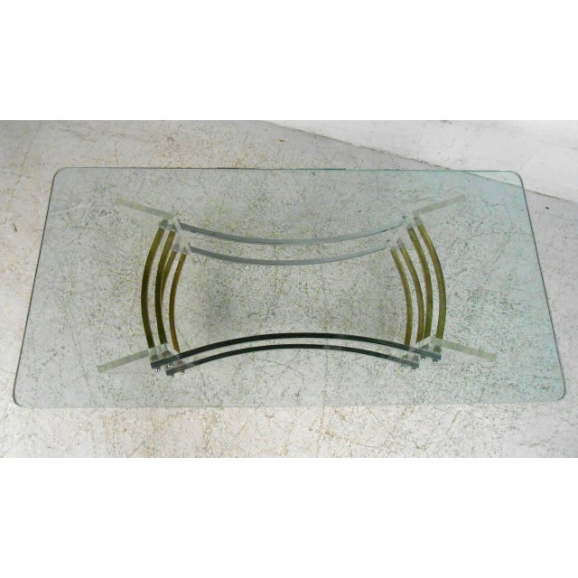 1970s Vintage Lucite and Brass Coffee Table by Charles Hollis Jones For Sale - Image 5 of 7