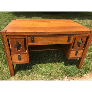Antique Arts and Crafts Mission Style Writing Desk Table Preview