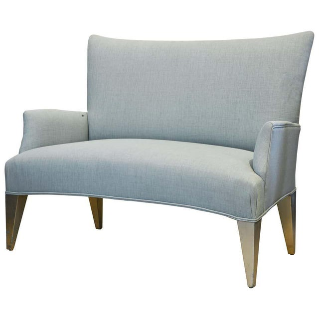 Vintage Ico Parisi Style Seafoam Color Loveseat Settee With Great Curved Lines For Sale - Image 11 of 11