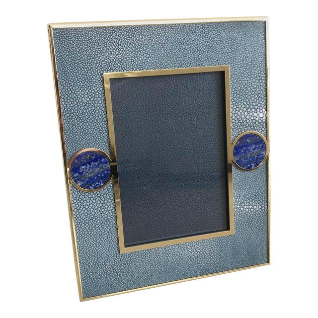 Blue Shagreen With Lapis Lazuli Photo Frame by Fabio Ltd For Sale