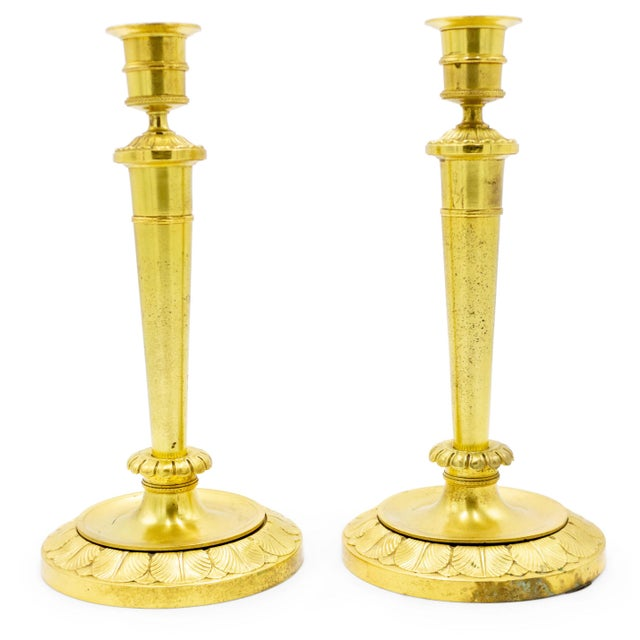 English Recency Bronze Dore Candlesticks - a Pair For Sale In New York - Image 6 of 7