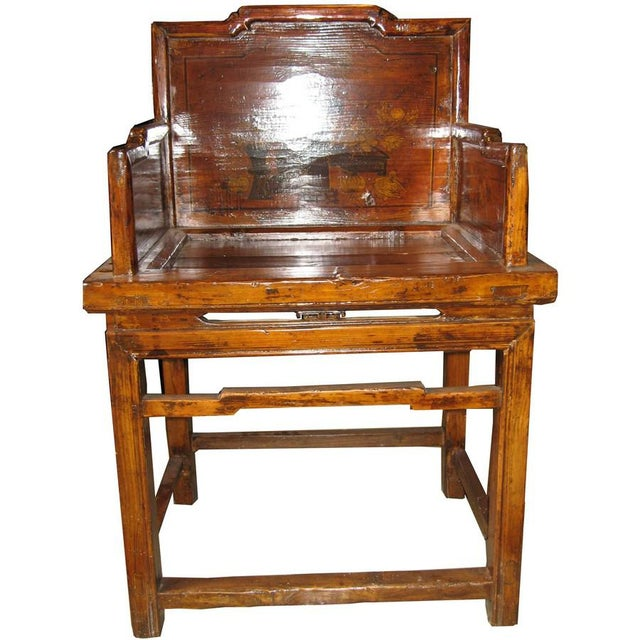 Asian Antique Chinese Arm Chair For Sale - Image 3 of 5