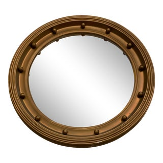 Vintage Gold Painted Oval Port-Hole Style Convex Wall Mirror For Sale