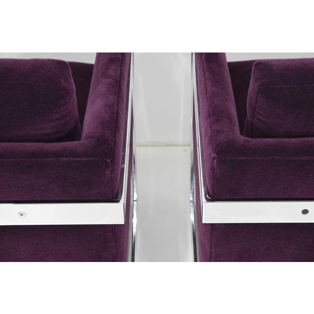 Milo Baughman T-Back Cube Chairs in Maharam Mohair - a Pair For Sale - Image 9 of 13
