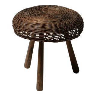 Italian 50s Wicker Stool For Sale