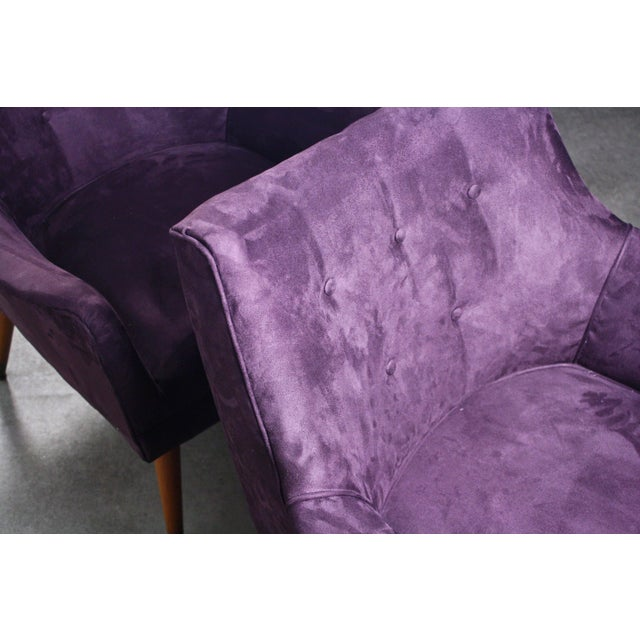Mid-Century Modern 1960s Mid Century Modern Paul McCobb Purple Upholstered Lounge Chairs - a Pair For Sale - Image 3 of 5
