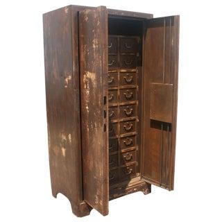 Vintage European Industrial Steel Cabinet For Sale