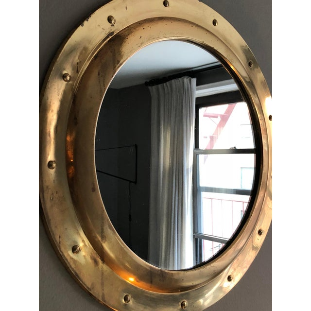 Rivet Porthole Brass Wall Mirror - Image 2 of 4