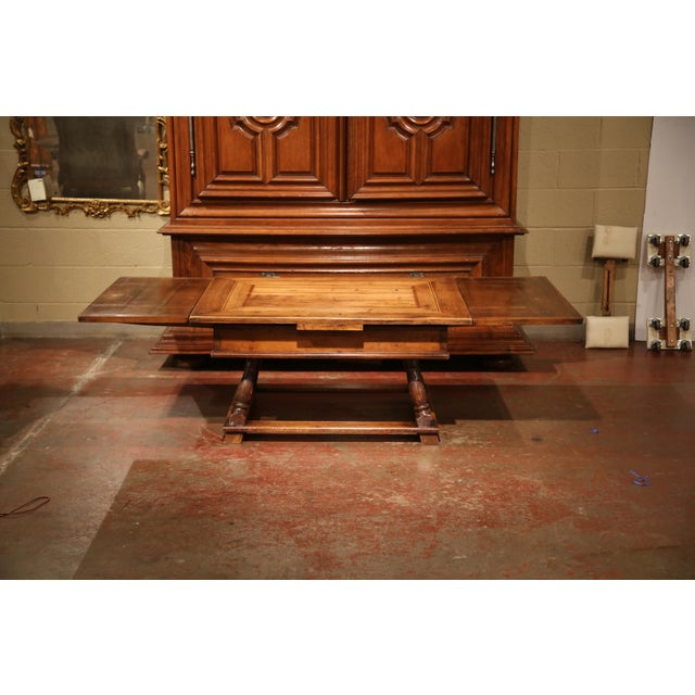 Louis XIII 18th Century French Walnut Coffee Table with Drawers and Pull Out Leaves For Sale - Image 3 of 9