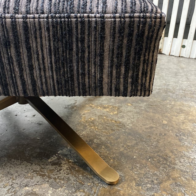 Metal Brand New Lee Industries Swivel Chairs + Charcoal Larsen Fabric - a Pair For Sale - Image 7 of 10