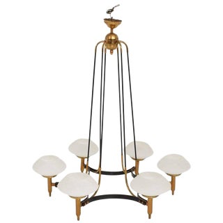 Mid-Century Modern Italian Chandelier Six Arms Glass Shades Stilnovo Era For Sale