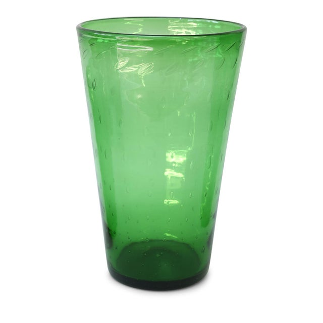 Green Italian Green Glass Vase by Empoli For Sale - Image 8 of 8