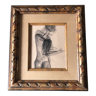 Original Vintage Abstract Nude Charcoal Study Drawing Vintage Frame For Sale