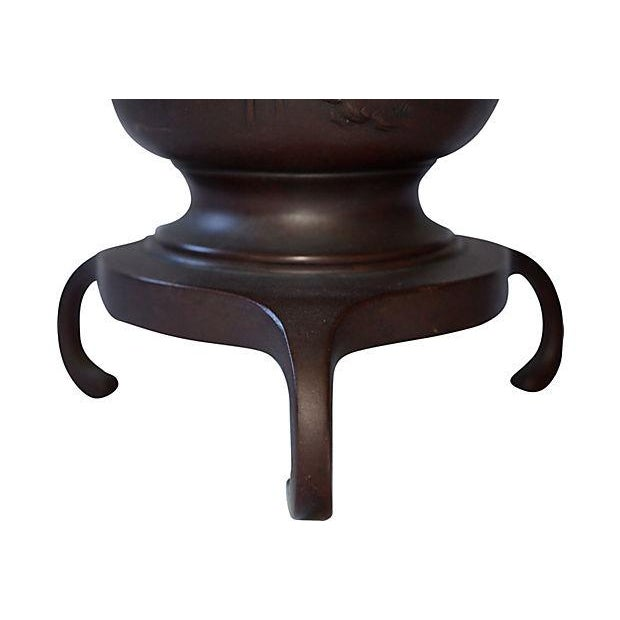 19th-Century Japanese Bronze Lamp - Image 7 of 7