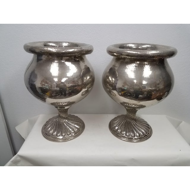 Vintage Matching Vintage Metal Planters - a Pair For Sale - Image 13 of 13
