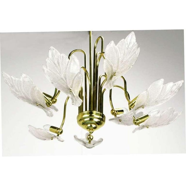 Nine Arm Murano Glass Leaf Chandelier In The Style Of Barovier & Toso - Image 2 of 5