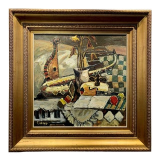 Signed Still Life Painting of Musical Instruments, Framed For Sale