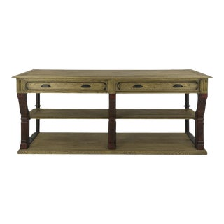 Antique Oak Barley Console For Sale