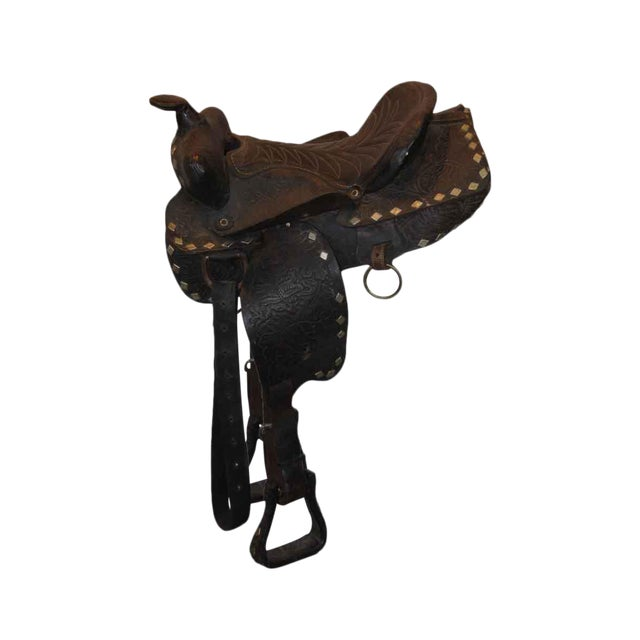 Antique Leather Horse Saddle - Image 1 of 10