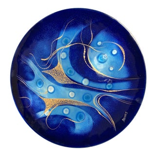 Sascha Brastoff 'Shades of Blue With Gold Leaf' Enamel on Copper Wall Sculpture For Sale