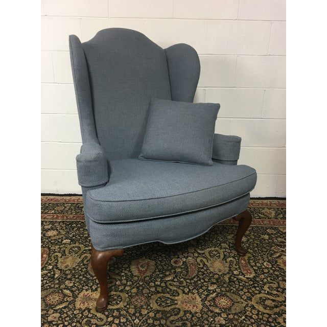Queen Anne Style Blue Upholstered Wingback Chair - Image 2 of 6