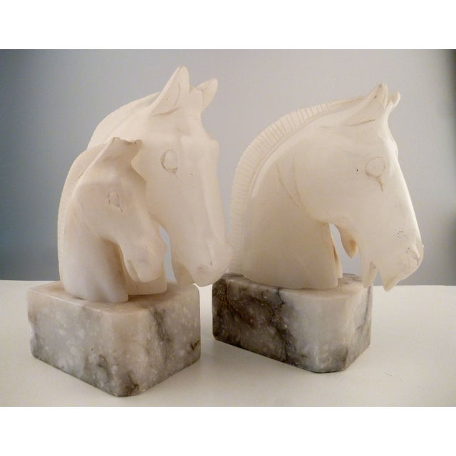 Alabaster Horse Bookends on Marble Bases - Pair - Image 8 of 11