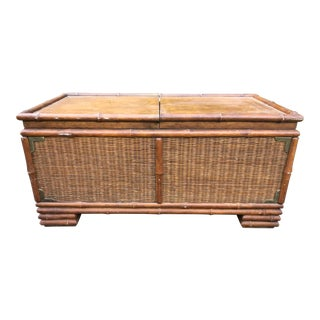 Vintage American of Martinsville Faux Bamboo and Rattan Campaign Chest For Sale