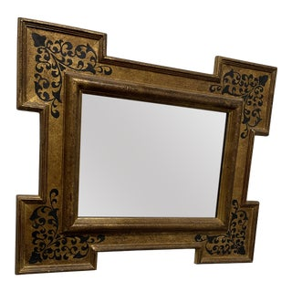 1950s Florentine Gold Mirror With Black Decoration For Sale