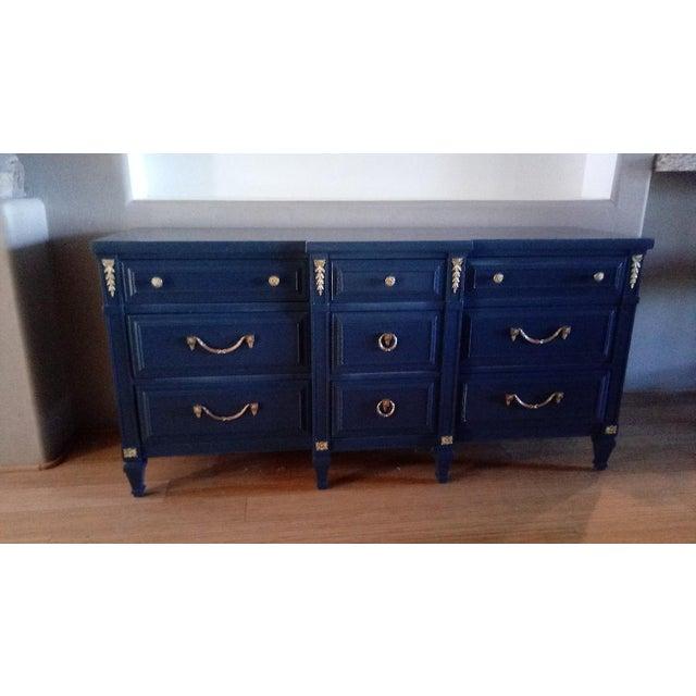 Brass Drexel San Remo High Gloss Blue Nine Drawer Dresser Credenza For Sale - Image 7 of 7
