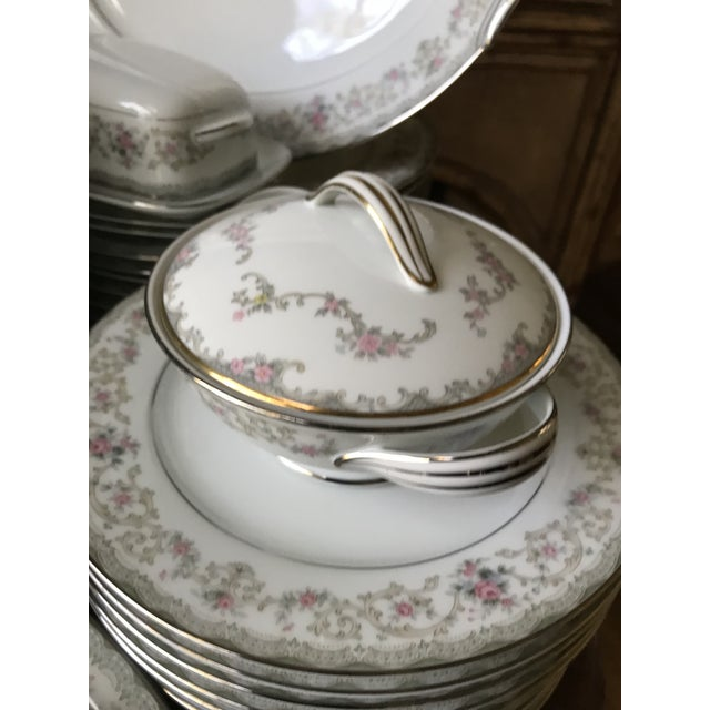 Classy, Vintage Noritake # 5807 Edgewood design. Service for12,94 pieceS place setting. They are marked to the underside...